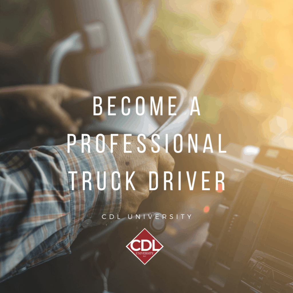 truck driver with hands on wheel