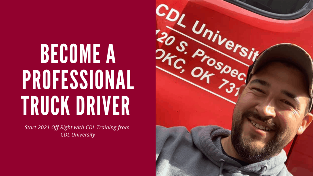 professional truck driver blog banner with cdl university graduate