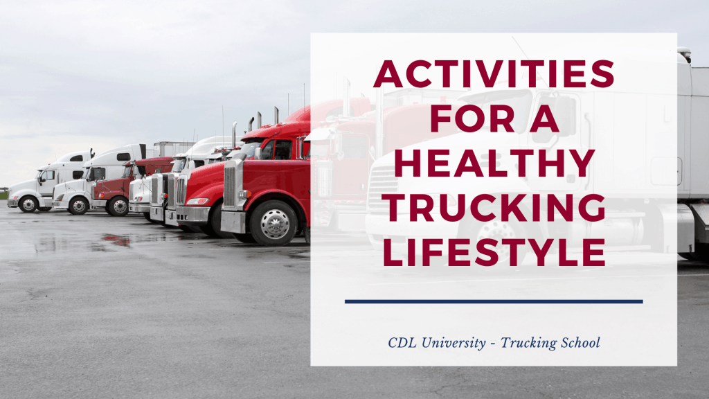 truck stop health tips graphic with semi trucks in the background